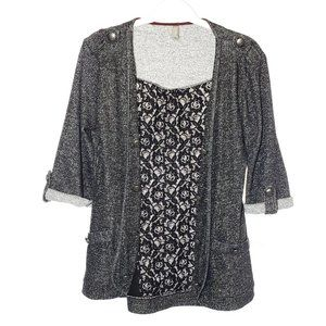 VANITY Lace Back Cardigan Military Buttons Gray Size Small Stretch Open